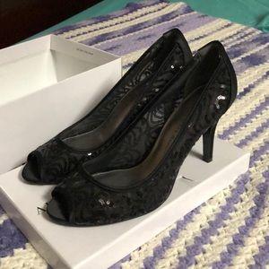 Adrianna Papell peep toe sequined sheer heels
